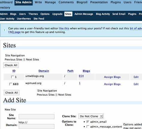 Image of Sites tab in Wp-Admin