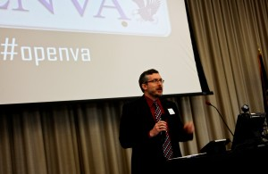 Jeffrey McClurken moderated a panel during the first OpenVA conference at UMW.