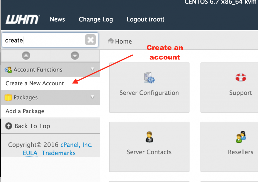 Create a New Account in CPanel