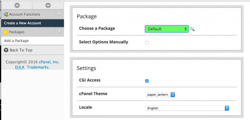 Choose a package (in this case Default)
