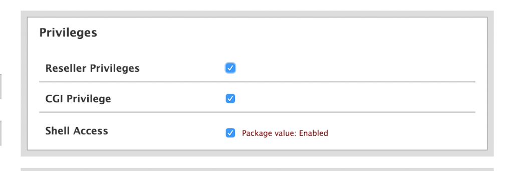 Enable Reseller Privileges on Reseller Account