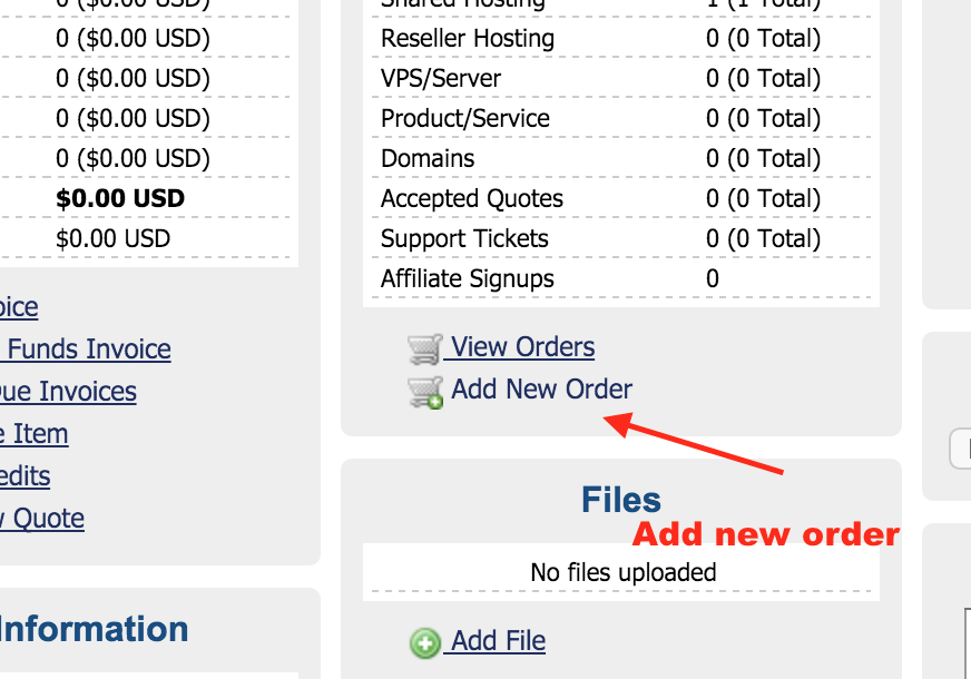 Figure 14: Add a new product for user in WHMCS