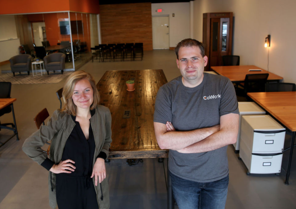 Tim and Lauren in a recently completed CoWork
