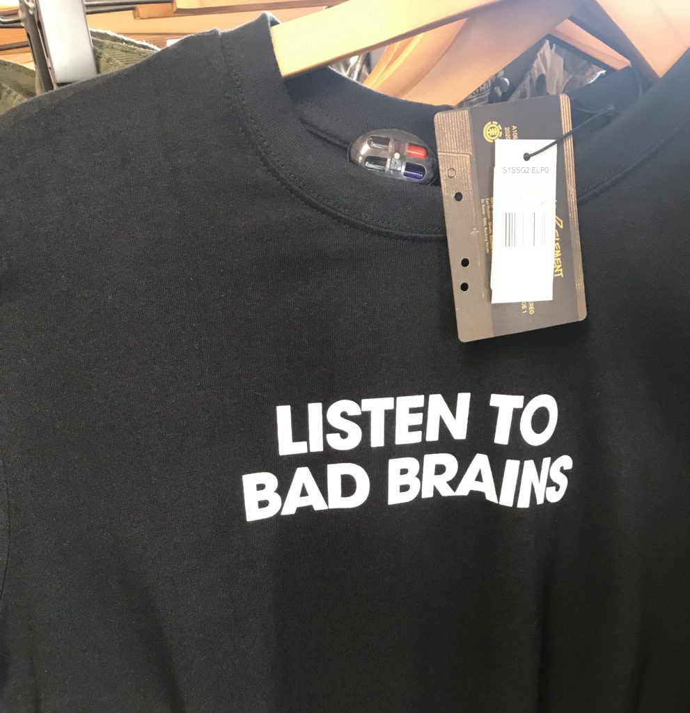 "Shirt with ""listen to Bad Brains"" written on it"